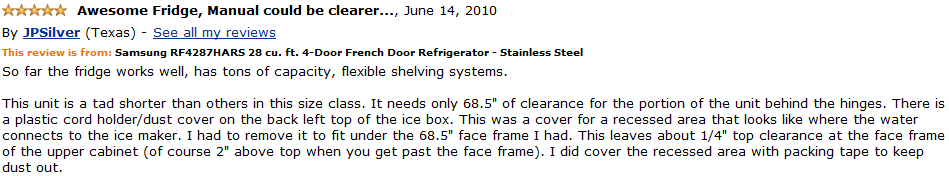 Samsung RF4287HARS customer review 1