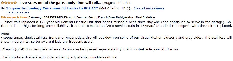 Samsung  RFG237AARS customer review 2
