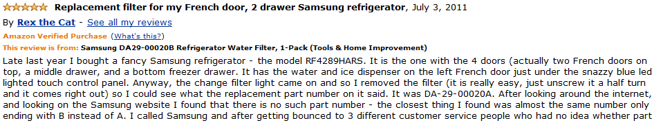samsung da29-00020b refrigerator water filter customer review 1