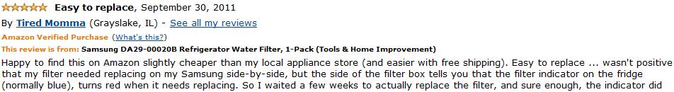 samsung da29-00020b refrigerator water filter customer review 2